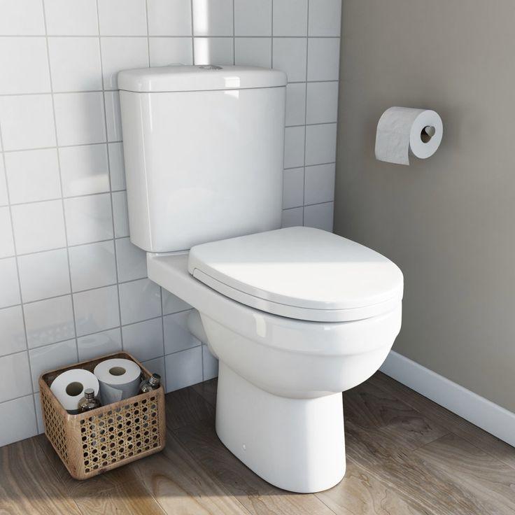 Energy close coupled toilet with soft close toilet seat | VictoriaPlum.com