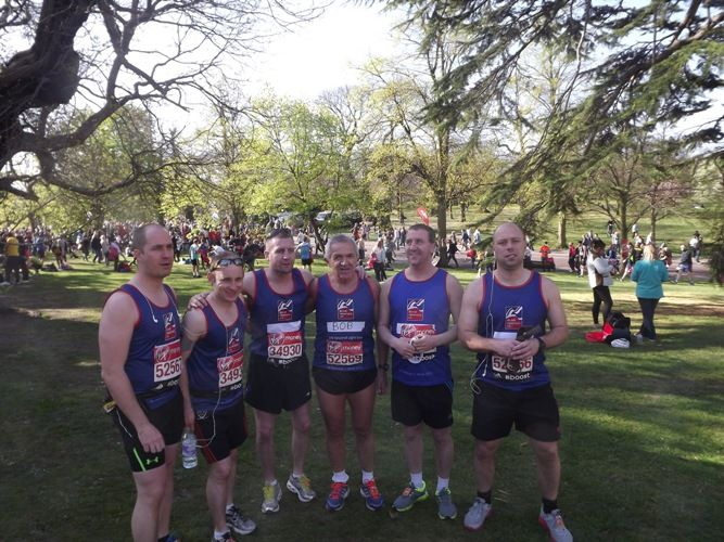 Blind veterans and their guides in the #LondonMarathon  Image credited to Ian Dunn Design