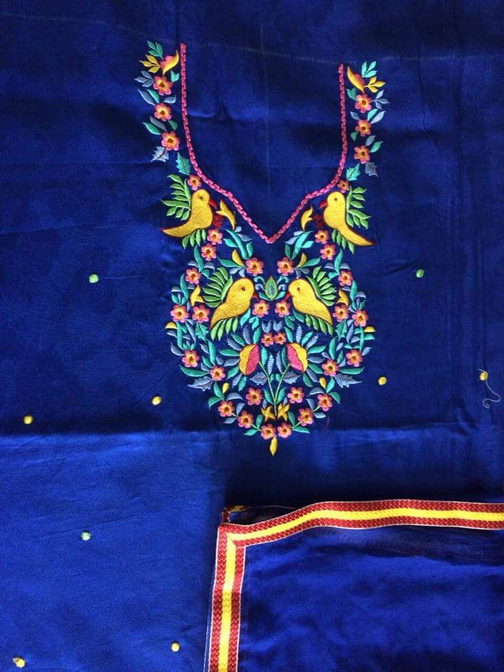 Machine Embroidered Suit in Royal Blue, With Pure Chinon Chiffon Dupatta