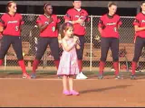 Kaitlyn Maher (4yo) sings National Anthem at Washington Glory game 7/26/08