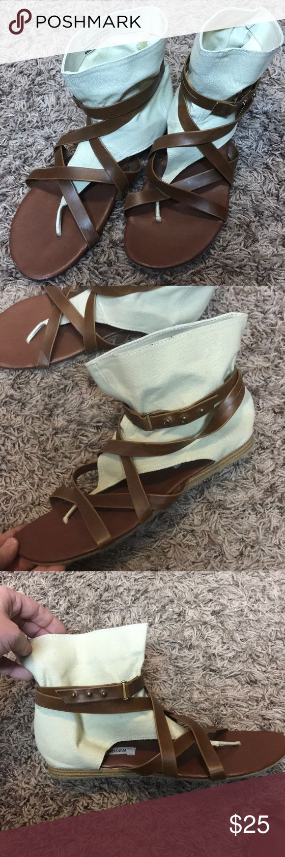 STEVE MADDEN Gladiator Sandals Very cute & stylish gladiator sandals with cream fabric! BNWOT, One small flaw in left back heel Steve Madden Shoes Sandals