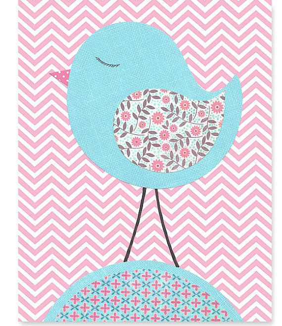 Pink and Aqua Nursery Art Print Bird Zig Zag by SweetPeaNurseryArt