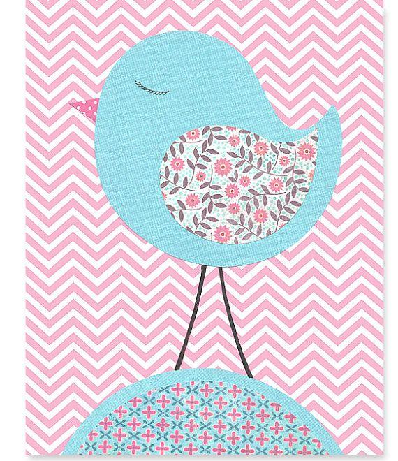 Pink and Aqua Nursery Art Print Bird Zig Zag by SweetPeaNurseryArt