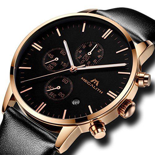 Bracelet Noir Homme Luxe Mode Montre Etanche De v80wNOmn