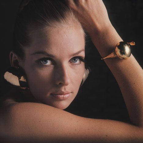 Sonja Bakker with Onion Bracelet, 1965 and Untitled Earings, 1966 by Gijs Bakker. Photograph by Matthijs Schrofer. Gijs+Emmy exhibition of futuristic jewellery to open at the Stedelijk Museum