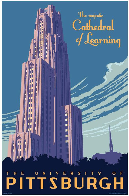 Vintage Style Cathedral of Learning Travel Poster by Red Robot Design & Illustration