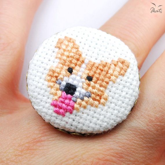 Embroidery WELSH CORGI Adjustable Ring  Cross Stitch by IkatiWorks, $33.00