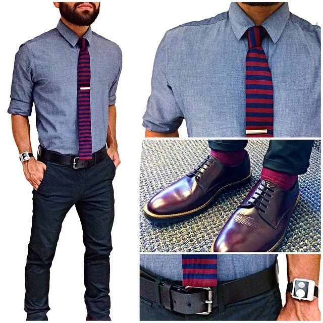 """Today's fit - red stripes and blue  Feeling a bit more """"dressed up"""" today in new modern classics, solid chambray shirt and knit striped tie. The black pants gives it that more dressed up approach along with these reddish shoes. All black details to go with the rest of the fit finish off the fit with a touch of red on the socks to step up my shoe game."""