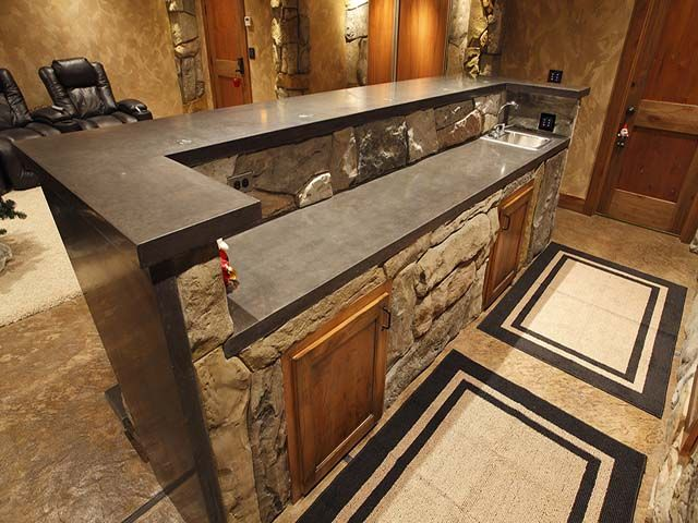 Beautiful Basement Bar   Cornerstone Decorative Concrete. A Bit Too Rustic, But Could  Definitely Could Be Designed More Modern With The Same Idea. Love It!