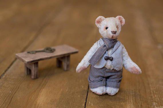 OOAK Miniature Teddy bear 11 cm height pocket size vintage