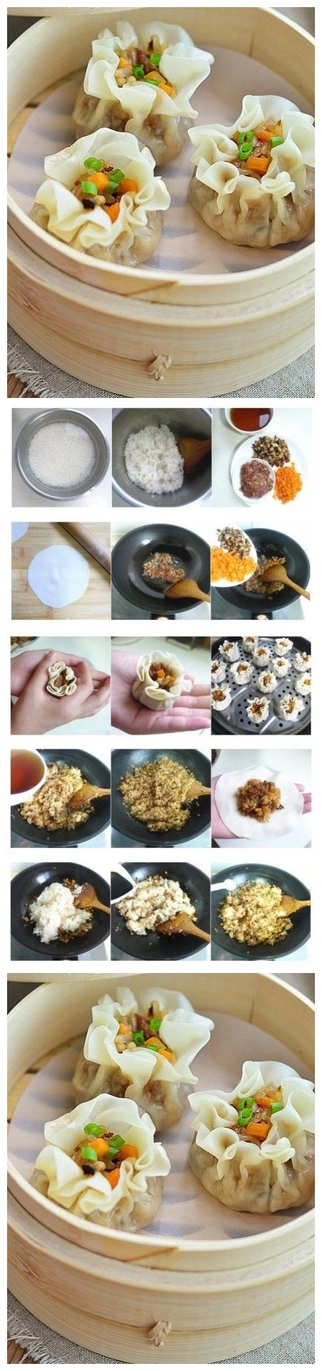 Chinese Steamed Rice Dumplings. Glutinous rice mixed with cooked meat mince, dry mushroom and carrot cubes