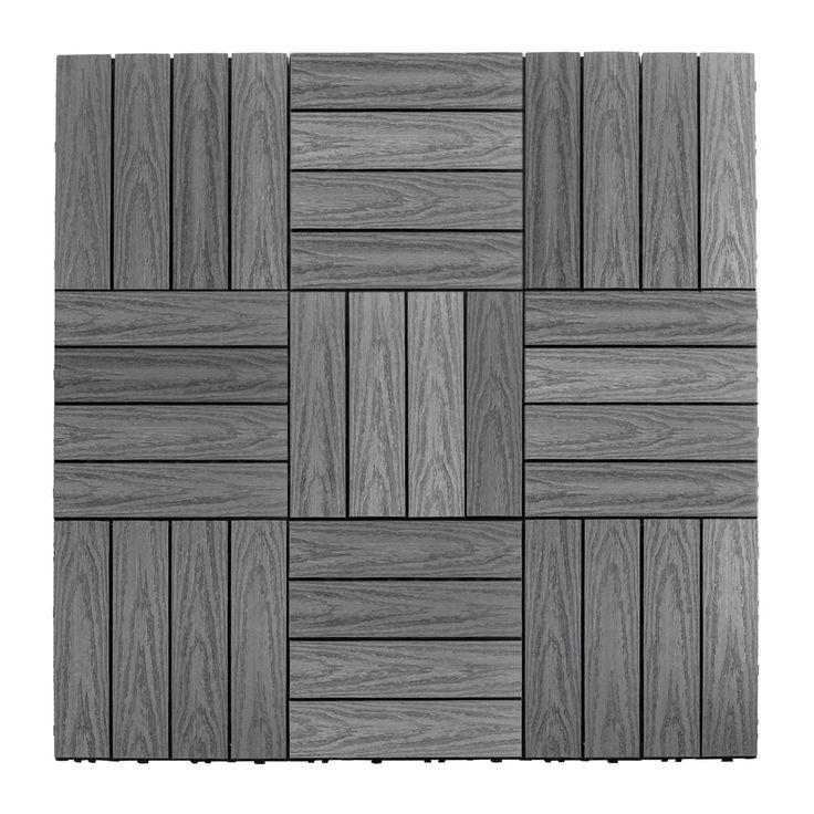 "NewTechWood Naturale Composite 12"" x 12"" Interlocking Deck Tiles in Westminster Gray"