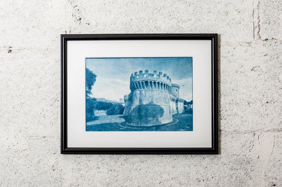 Ancient rome Castle photography Wall decor  #cyanotype #print #art #artdeco #walldeco #cottagedeco #horse #childroom #nurseryroom