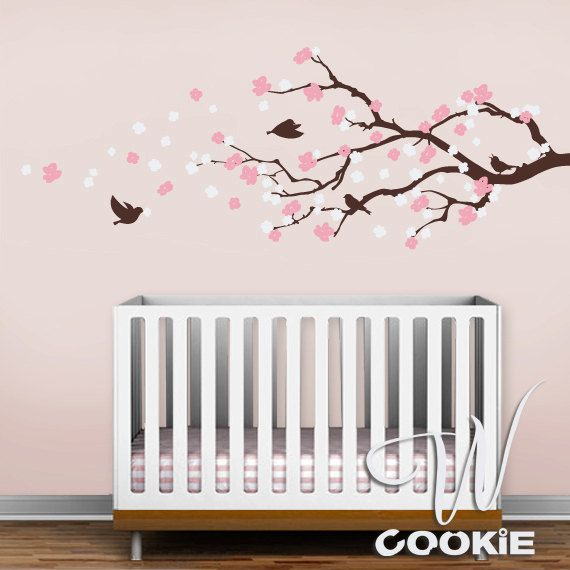 Cherry Blossom Branch With Birds Nursery Wall Decal