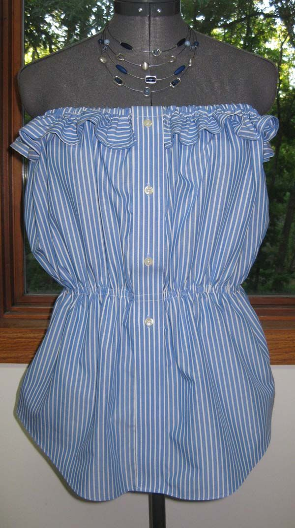 DIY: Mens Shirt into Strapless Top http://sharonsews.blogspot.com/2009/07/refashion-mens-dress-shirt-into-womans.html