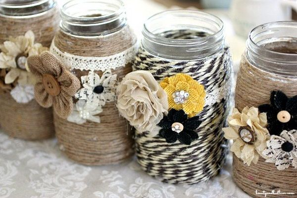 25 Rope Crafts @ hative.com DIY Table Centerpiece with Rope and Mason Jars.