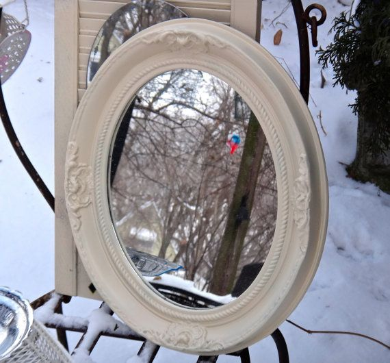 Oval Mirror, Floral Frame, 15 x 18 Mirror, White Mirror, Embossed Syroco Mirror, Powder Room Decor, CasaKarmaDecor, Floral Cottage Mirror
