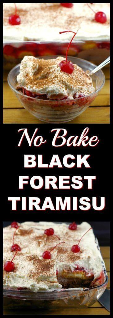 No Bake Black Forest Tiramisu | #potluck dessert idea #easy dessert- Foodmeanderings.com    This black forest tiramisu is a combination of my family's favourite black forest trifle and tiramisu. It is an easy no bake dessert that is perfect for potlucks, BBQ's or feeding a crowd1