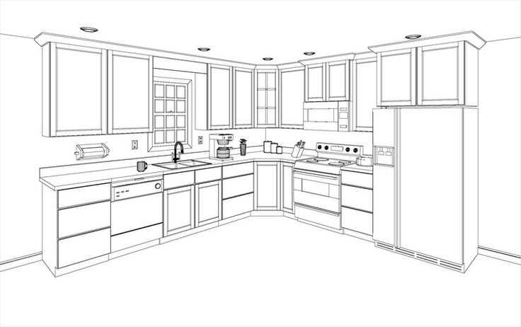 Free 3d kitchen design layout kitcad free 2d and 3d for How to design a kitchen floor plan