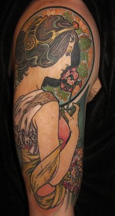I did not do this tattoo. This is a Mucha piece, adapted for a tattoo. Beautiful, but it is more detailed than I want to aim for.