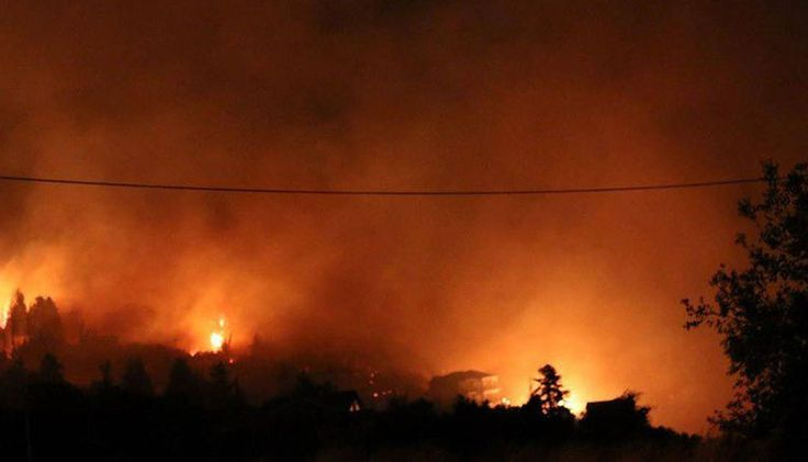 Large fire burning near village in southern Cephalonia