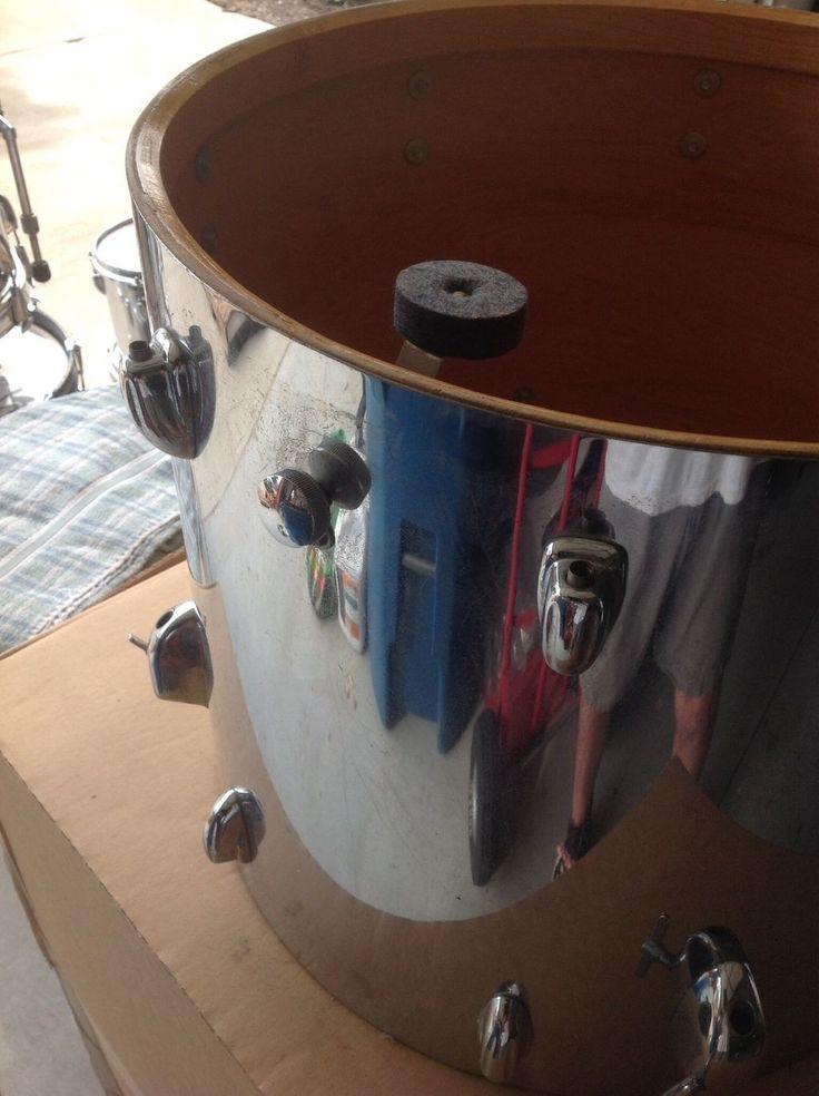 Vintage 1970s slingerland 18 x 16 floor tom drum chrome for 16 floor tom drum