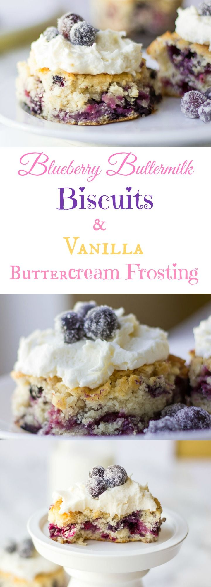 Buttery, warm, delicate, soft and fluffy Blueberry Buttermilk Biscuits with Vanilla Buttercream Frosting. Anybody that knows me, know that I love watching cooking shows. I wish I could watch them all day long though. One night, as I... #biscuits #blueberrybuttermilkbiscuits #blueberryrecipes