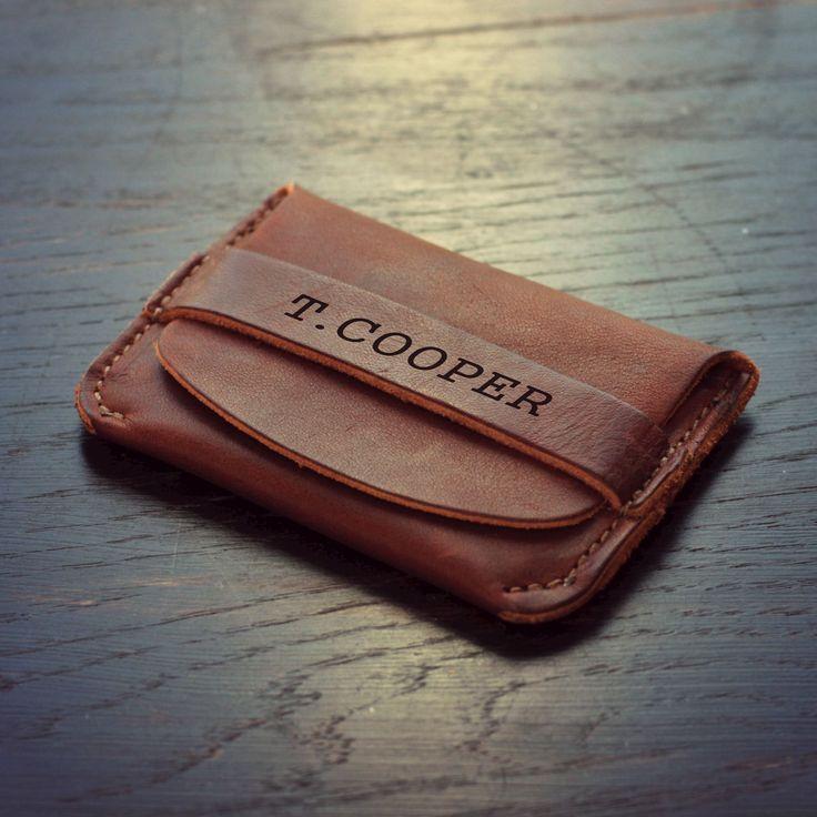 Personalized Front Pocket Wallet Fine Leather Groomsmen Baseball Flap Wallet Wallets