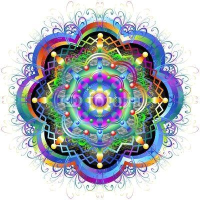Mandala Rainbow Flower-Vector © bluedarkat