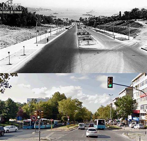 1- Barbaros Bulvarı.. 1958 - Bugün..  Üstteki resim, Bulvarın 1958'de hizmete girmesinden hemen sonra Yıldız mevkiinden çekilmiştir. Sağdaki patikaya benzer yol, günümüzdeki Yenimahalle'ye giren yolun başlangıcıdır. Sol taraf ise Yıldız Hamidiye Camii, YTÜ ve parkın olduğu kesimdir.
