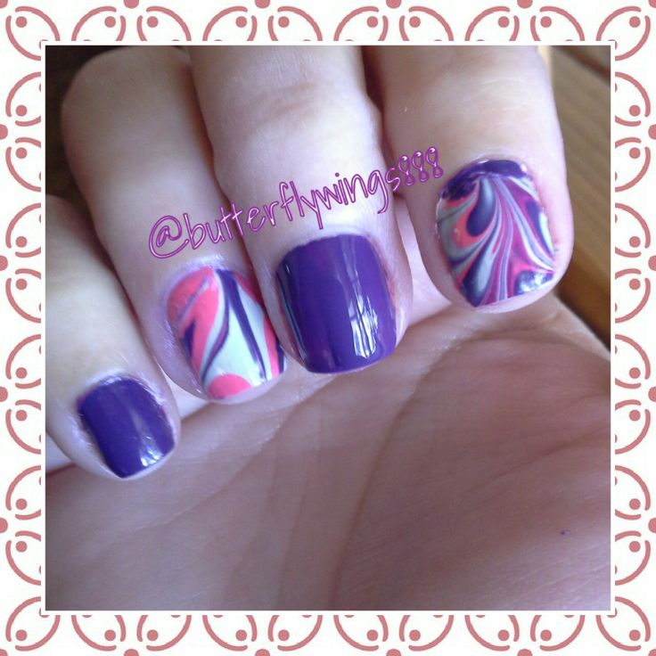 #nailart #watermarble  #purple