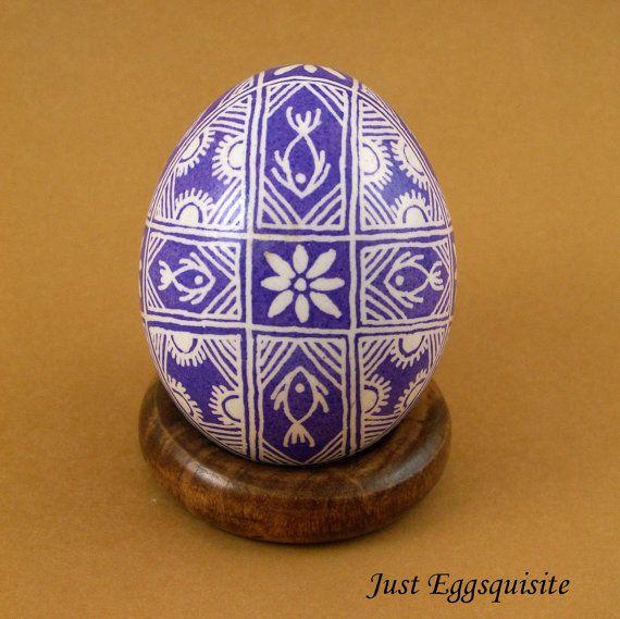 Pysanky Pisanki Ukrainian Polish Easter Egg Purple Fish Hand Decorated Chicken Egg