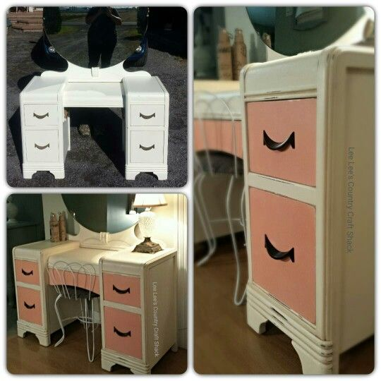 Cute Vanity Refresh. Painted in Old White Chalk paint with the drawers being done in Coral. Sealed with light and dark wax.