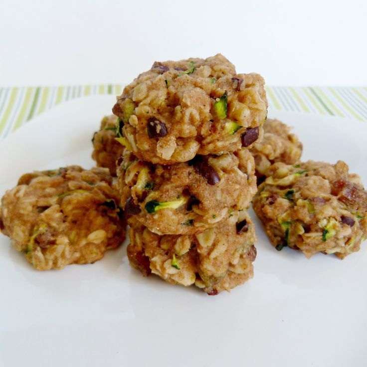 Zucchini Bread Cookies (with oats, flour, applesauce, coconut oil, honey or maple syrup, etc)