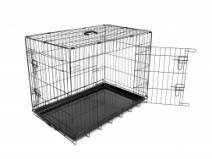 Hondenbench Zwart 92 cm.  Description: Duvo Hondenbench Zwart 92 cm.Deze hondenbench is te herkennen aan de zeer hoge kwaliteit. Deze kwaliteit kunnen wij garanderen door de kunststoffen bodembak en stevige dikke spijlen. Deze hondenbench is niet alleen van hoge kwaliteit maar ook een betaalbare prijs! Deze hondenbench heeft 2 deuren (1 aan de lange zijde en 1 aan de korte zijde) en wordt geleverd met anti-slip voetjes zodat de bench op zijn plek blijft staan.Schoonmaken:Deze hondenbench is…