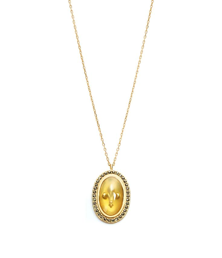Eye Ibiza Necklace in 9K Gold and Grey Sapphire Feidt Paris sMxLG