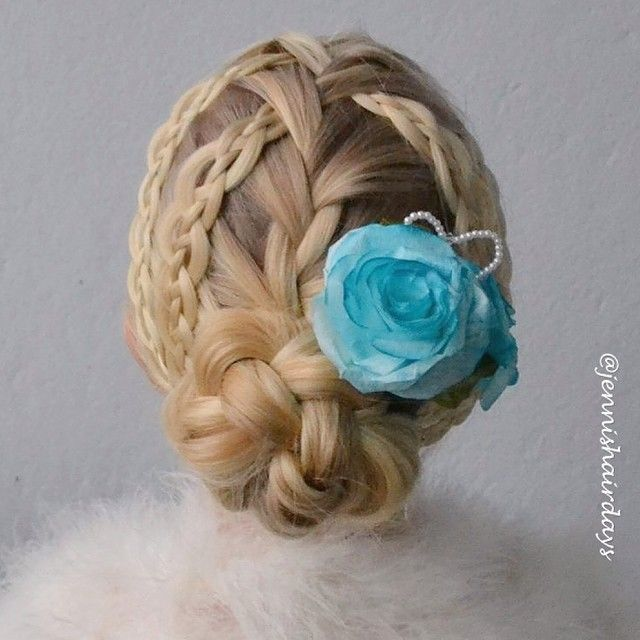 two sided waterfall and loose 4 strand push-up braids, into a braided bun by Jenni's Hairdays nutturalettikampaus