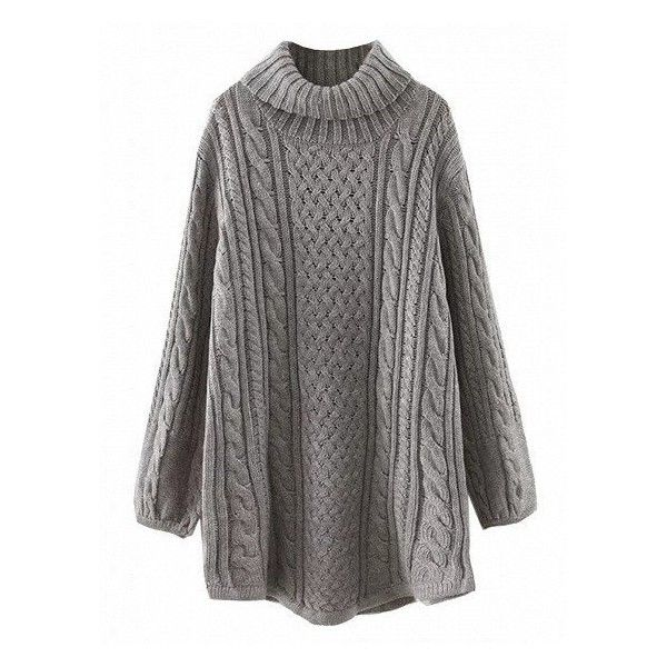 Gray High Neck Cable Long Sleeve Knit Dress ($50) ❤ liked on Polyvore featuring dresses, sweaters, tops, vestidos, grey knit dress, gray dress, cable dress, longsleeve dress and knit dress