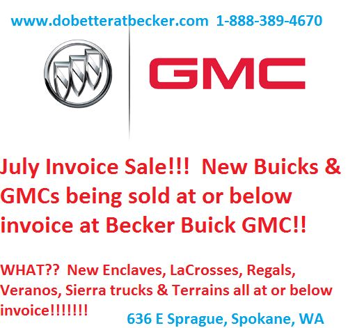 Invoice Sale on New Buick \ GMC select models at Becker Buick GMC - invoice for sale