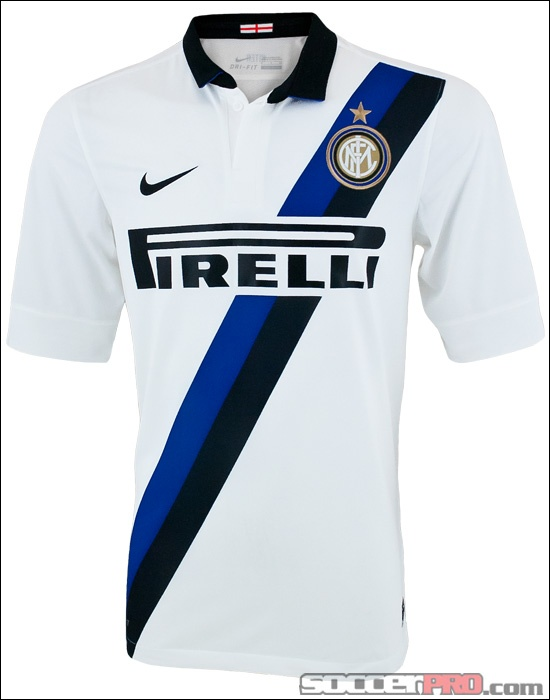 The Nike Inter Milan Away Jersey 2011-2012 featuring a black and blue sash across the chest...$63.99