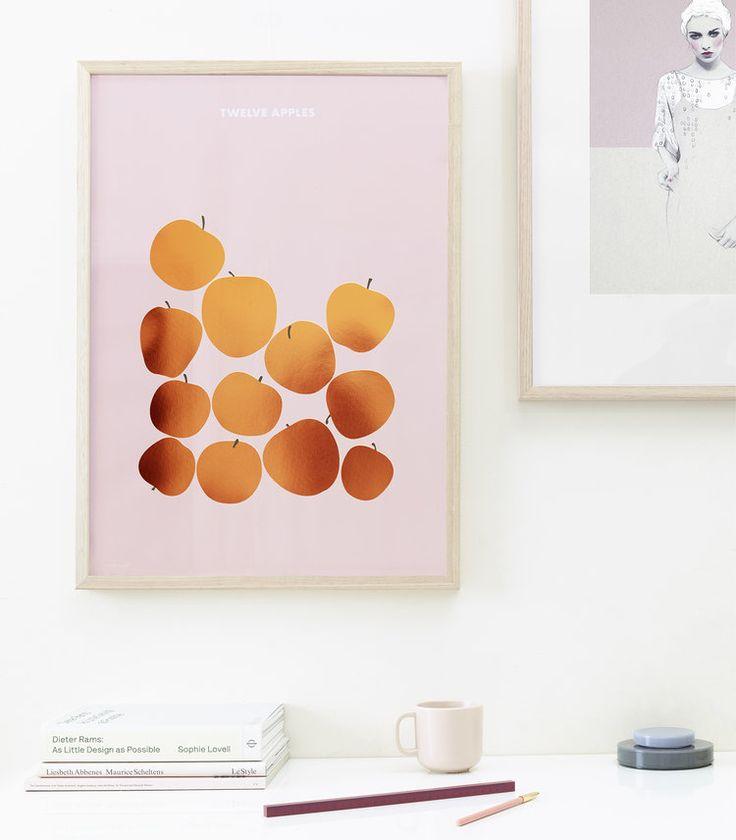 Friday & Today ~ 'Twelve Apples' copper foiled art print 50 x 70cm
