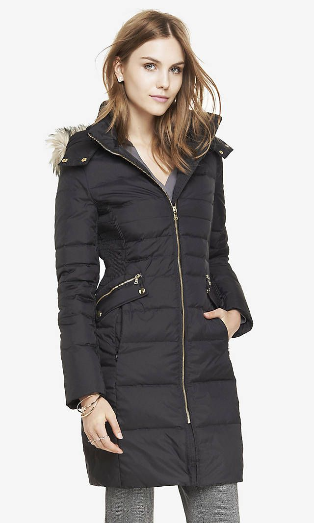 HOODED FAUX FUR TRIM FITTED PUFFER COAT | Express -- Shop online at Express through Zoola and get cash back!