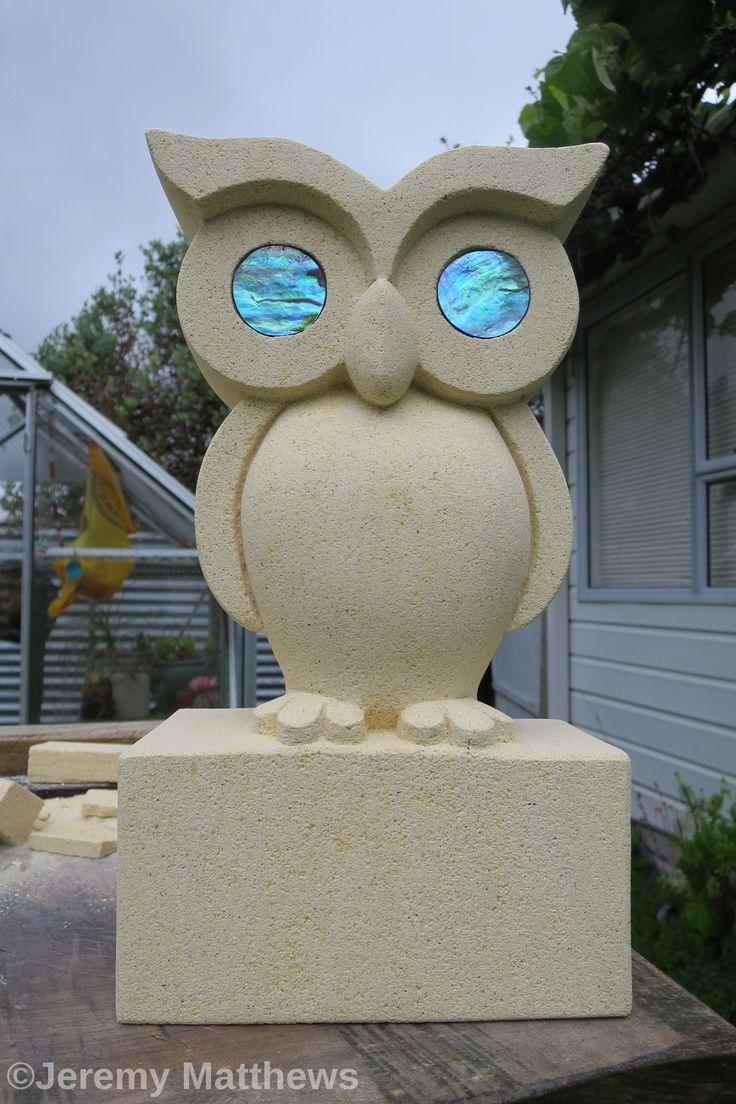 Oamaru stone Ruru (owl) with Paua shell eyes