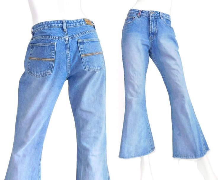 Sz 8 90s Mid Rise Women's Flare Jeans - Vintage Union Bay Faded Raw Hem Distressed Denim Bell Bottom Pants by SadieBessVintage on Etsy