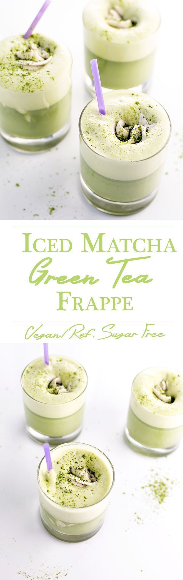 Iced Matcha Green Tea Frappe with Coconut Whip - V/GF/Refined Sugar Free #healthy #greentea #matcha #vegan #recipes #coconut