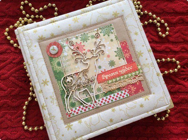 Скрапбукинг Новый год Ассамбляж Новогодний альбомчик Бумага Клей Кружево Ткань фото 1
