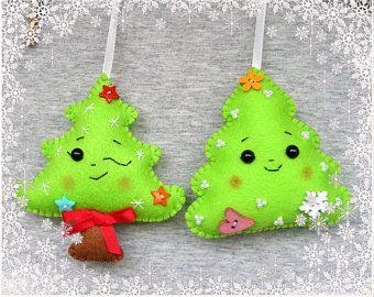 Ornamento del árbol de Navidad, decoración Navidad, regalo de Navidad, lindos adornos fieltro, adornos hechos a mano, decoración de Navidad