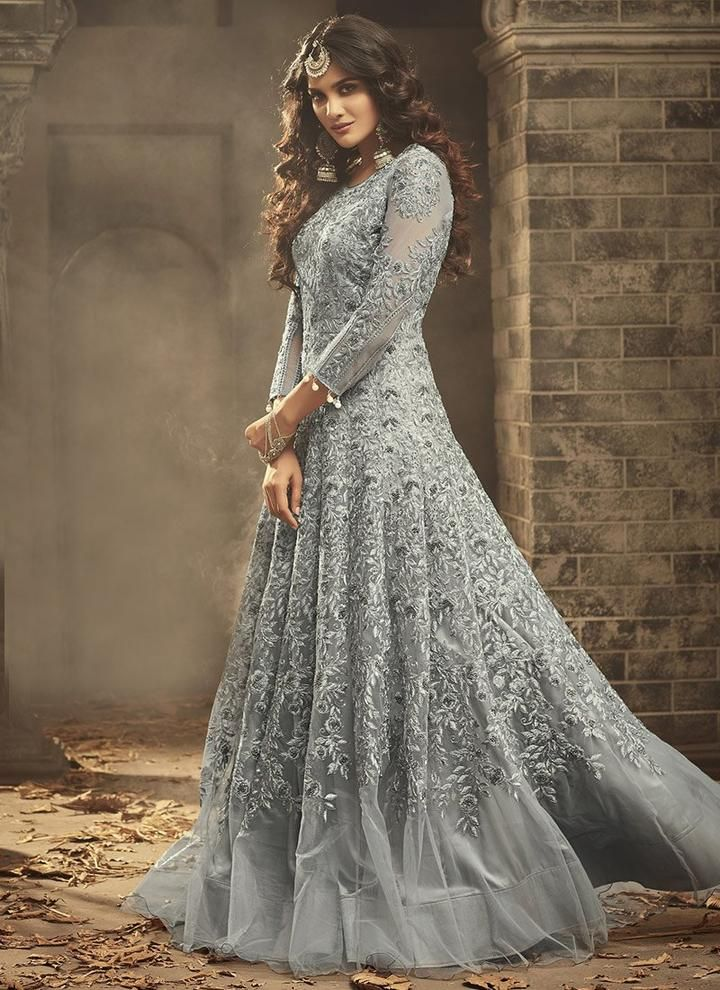 4146cb602450 Grey Designer Net Embroidered Mohini Anarkali Suit Online in 2019 ...