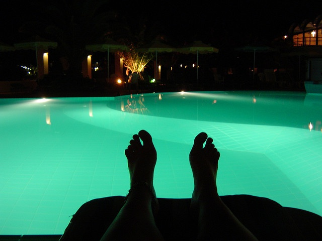 Swimming Pool At Night My Pool My Toes Pinterest
