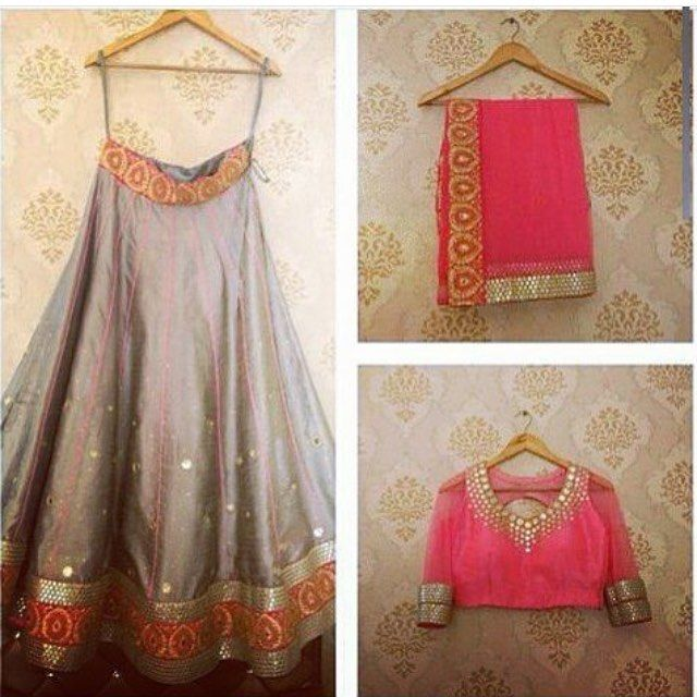 Grey #Lehenga With Bright Pink #Blouse & Dupatta By Taania Khandpal Designs.